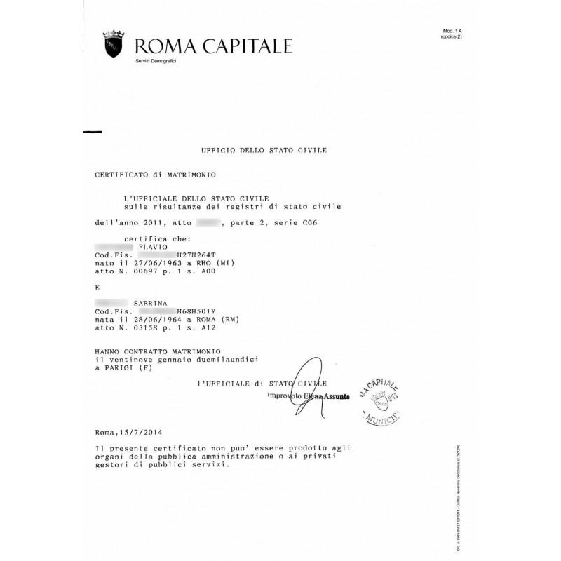 Certificato / Estratto di matrimonio online